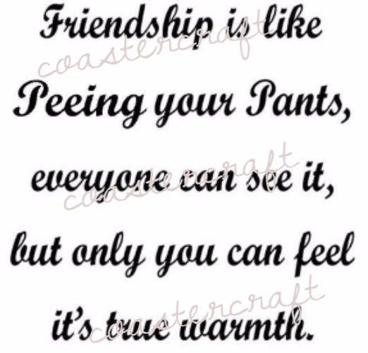 Friendship is like peeing your pants